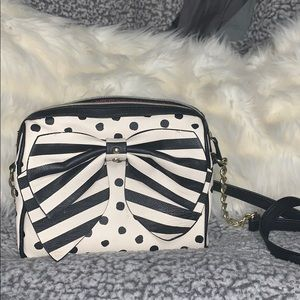 Mini bag White with black and gold embellishments